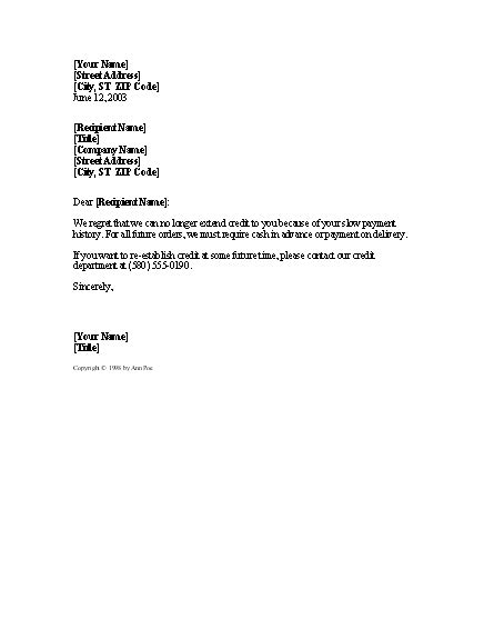 Customer Credit Letter Cancellation Of Customer Credit Letter Templates
