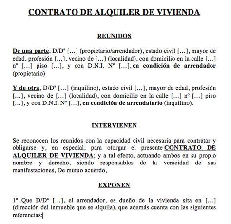 Contrato Alquiler Vivienda 2015 Word | modelo contrato alquiler word 2015 contrato de alquiler de