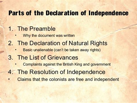 5 Sections Of The Declaration Of Independence american revolution through declaration of independence