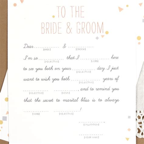 free printable wedding mad libs template printable