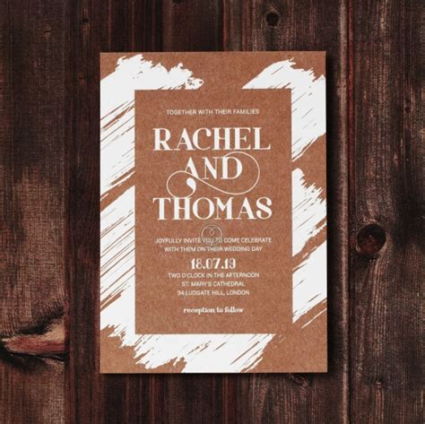rustic wedding invitation companies rustic invite card with brush and gold details