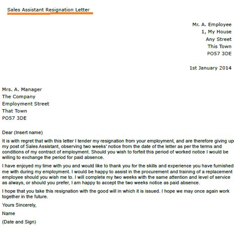 Sle Of A Letter Of Resignation by Post Reply