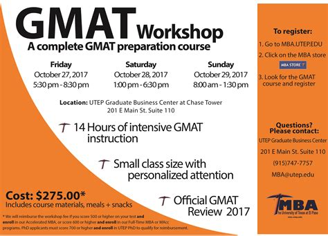 State Mba Application Deadline by Gmat Workshops Utep Business