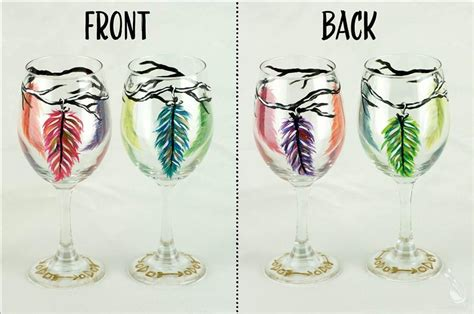 paint with a twist wine glass feather wine glass painting set in new braunfels the