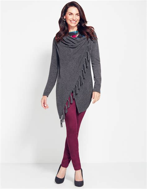drape sweater grey fringe drape sweater cleo