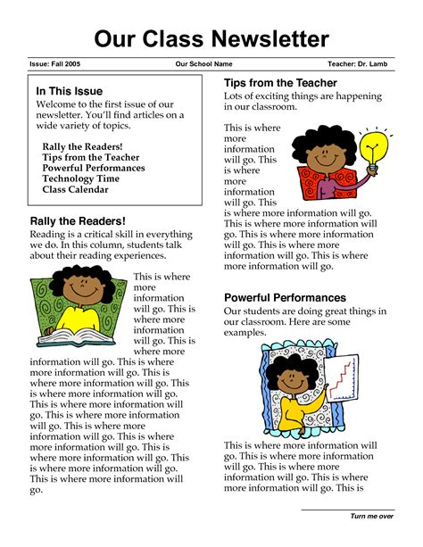 school newsletters templates classroom newsletter templates free