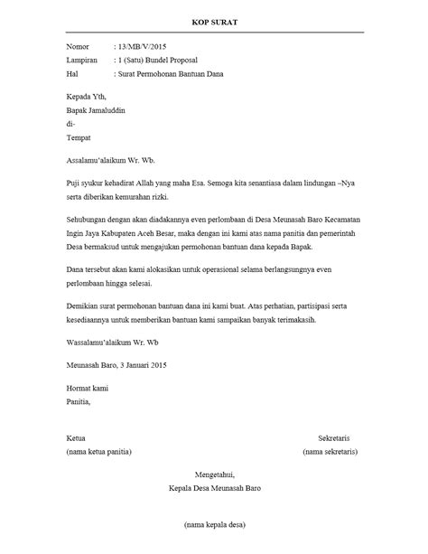 contoh surat pengantar yang resmi dan benar
