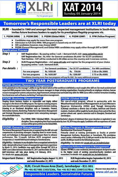 Xlri Executive Mba Deadline by Xlri Pgdm Admission 2014 Dates Process Criteria