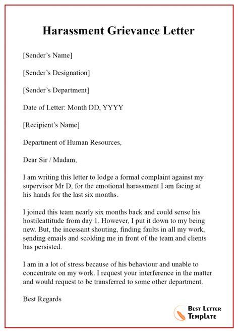 grievance letter template format sample