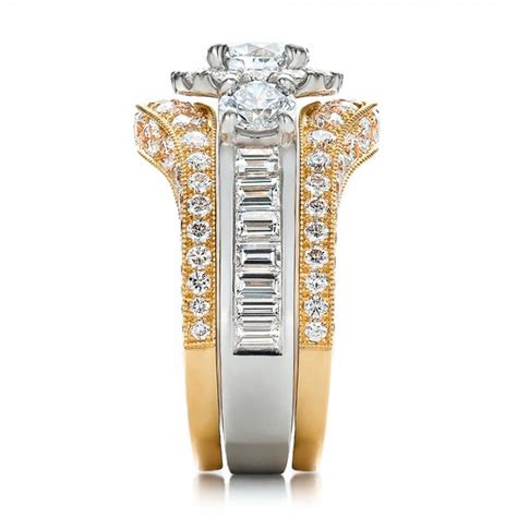 Set Twotone estate two tone wedding and engagement ring set 100619