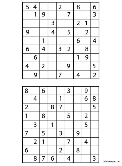 Grilles De Sudoku 224 Imprimer Avec Solution Lulu La Taupe