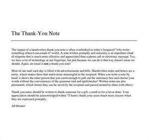 Thank You Note To Sle Thank You Note For Gift 6 Documents In Pdf Word