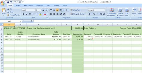 accounts receivable template accounts receivable ledger template free sle templates