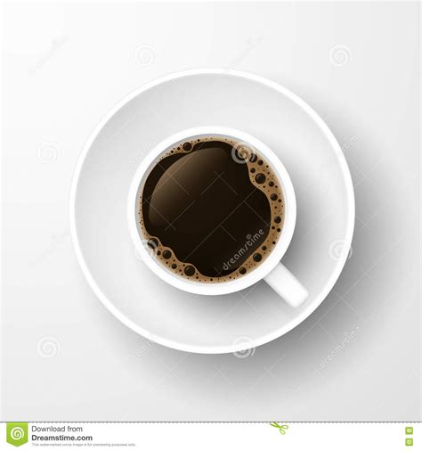 top of coffee cup realistic top view coffee cup isolated on white stock