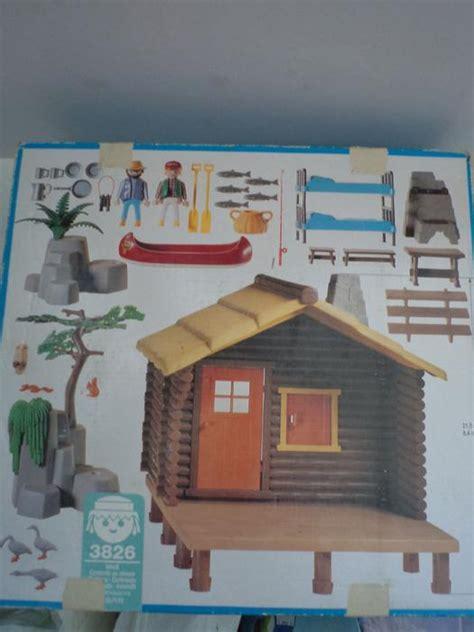 playmobil log cabin vintage playmobil set 3826 fishing cabin
