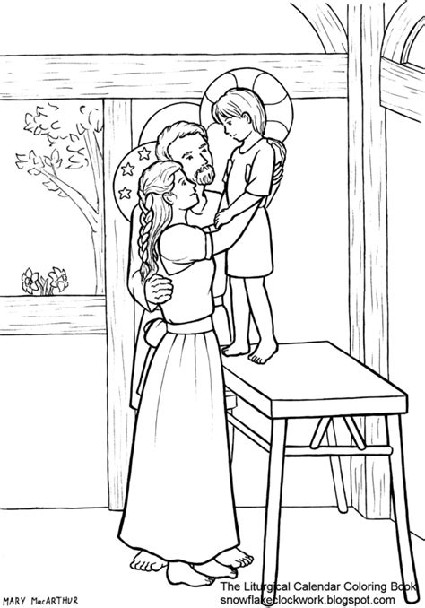 snowflake clockwork holy family coloring page december