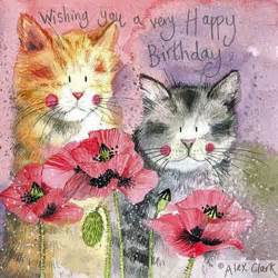 cats and poppies birthday card by alex clark pretty cat greeting card ebay
