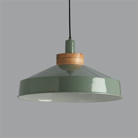 Pendant Lights Uk Bertie Green And Wood Pendant Light By Horsfall Wright Notonthehighstreet