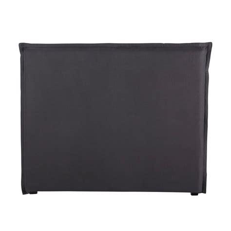 bett kopfteilbezug 140 cm aus grobem leinen anthrazit - Kopfteilbezug Bett