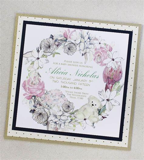 Baby Milestone Bisa Custom Nama Green Succulent b navy white and gold floral wreath baby shower invitationsmomental designs