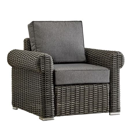 gray wicker chair cushions homesullivan camari charcoal rolled arm wicker outdoor