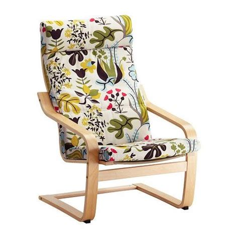 Loveseat Chair Covers Ikea Poang Chair Birch Veneer With Blomstermala Floral