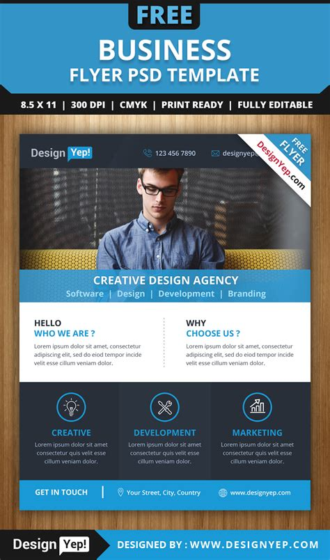 free download business flyer psd template designyep
