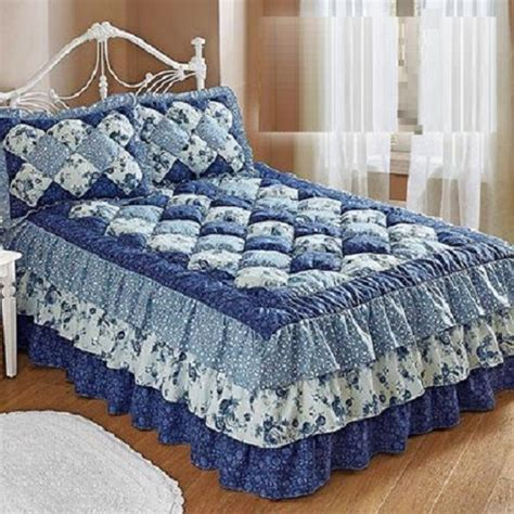 puff bedspreads puff top quilted bedspread microfiber cozy floral attached rufflethree tiered ebay