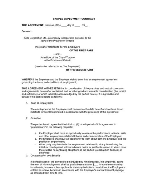 recruiting contract template printable sle employment contract sle form laywers