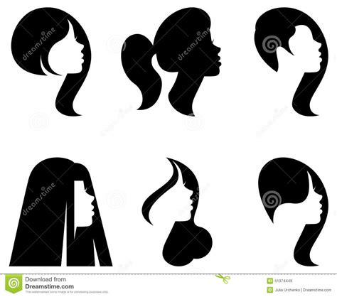 Hairstyle Tools Designs For Silhouette by Vector Silhouettes Of Heads Of With Different
