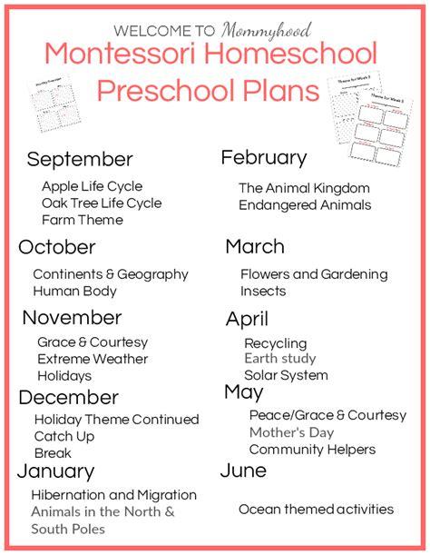 printable montessori lesson plans montessori at home preschool plans free unit study
