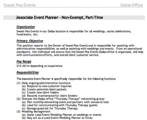 Duties Of An Event Planner by Writing A Description Wedding Pros