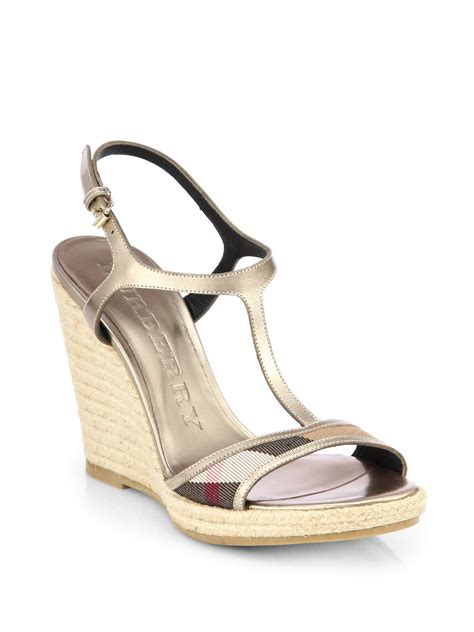 burberry wedge sandals burberry leeham metallic leather canvas wedge sandals in