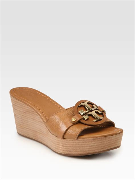 burch sandals wedge burch patti leather wedge logo sandals in brown