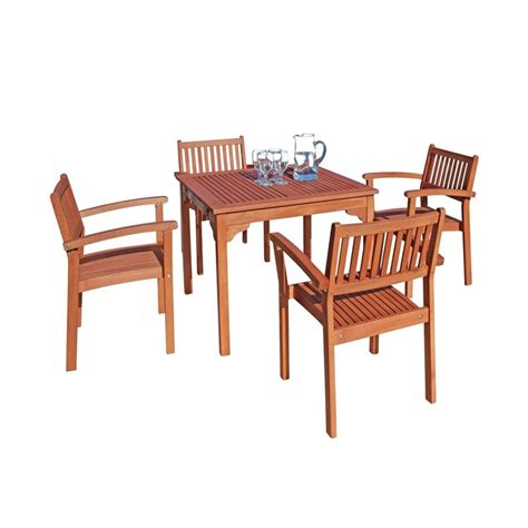 Wood Patio Dining Set 5 Wood Patio Dining Set V1104set1