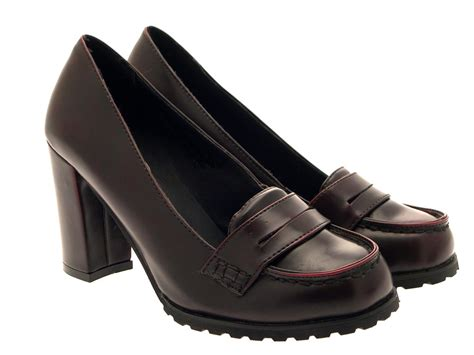 work loafers womens smart formal block heels toe loafers work