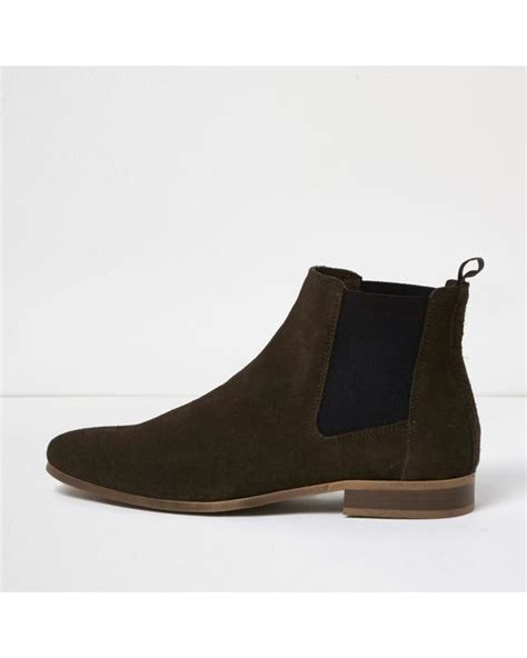 river island brown suede chelsea boots in brown for