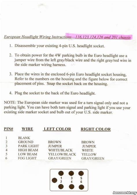 mercedes headlight wiring diagram 28 images 190e 2 6