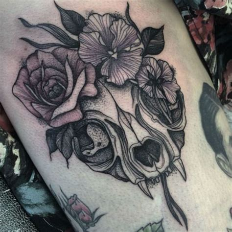 flower crown tattoo cat skull flower crown t a t t o o s p i e r c