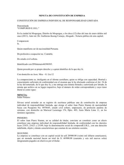 minutas modelo eirl minuta de constituci 211 n de empresa eirl