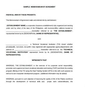 template for a memorandum of understanding 12 memorandum of agreement templates free sle