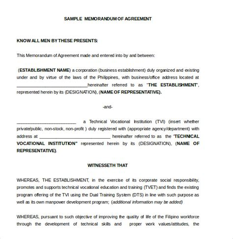 template for memorandum of understanding in business memorandum of agreement template 10 free word pdf