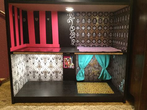 homemade monster high doll house monster high diy doll house with lights black bookshelf scrapbook paper as