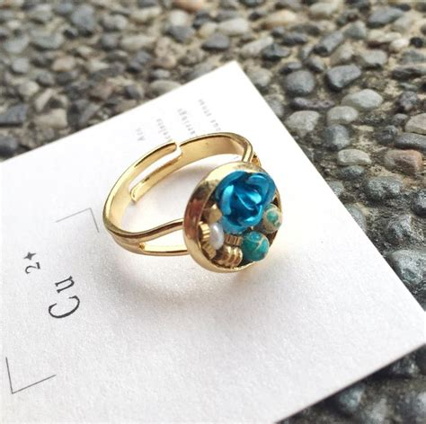 Pearl From Taiwan gold blue taiwan jewelry box ring turquoise pearl cu2 dress colorfully