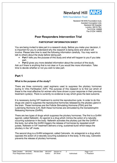 front page of the original participant information sheet