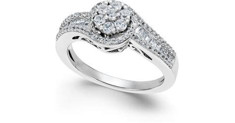macy s halo promise ring in sterling silver 1 2