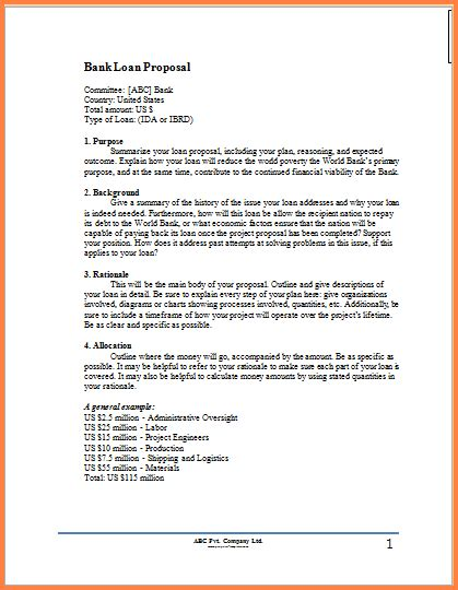 cover letter for bank loan proposal 6 business for loan project