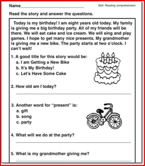 reading comprehension test for 2nd grade reading passages with questions 2nd grade reading