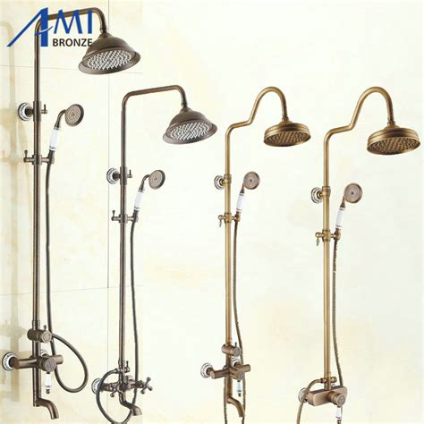 Vintage Style Antique Shower Bathroom Shower Set Bronze Shower Mixer Blue And White Porcelain Antique Brushed Bronze Brass Shower Set Waterfall Faucets Shower With Shower