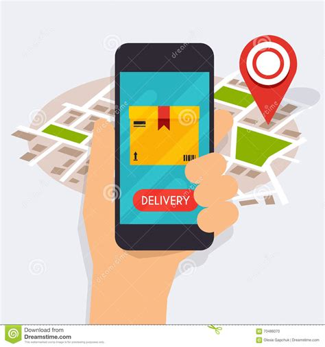Delivery Tracking holding mobile smart phone with mobile app delivery